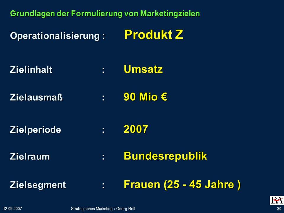 Operationalisierung : Produkt Z