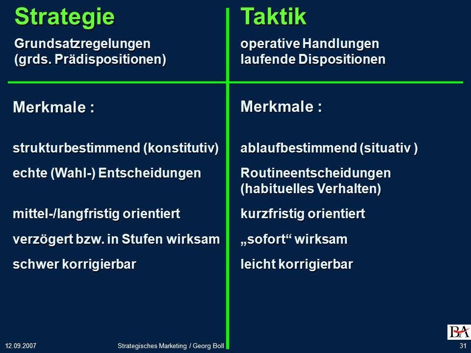 Strategie Taktik Merkmale : Merkmale : Grundsatzregelungen