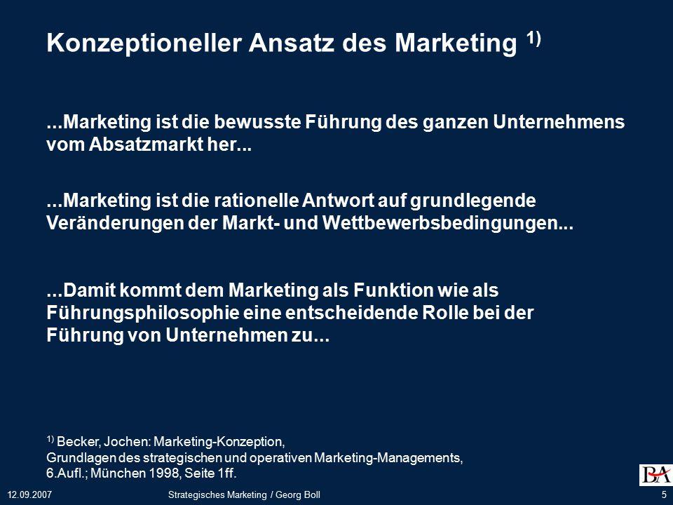 Konzeptioneller Ansatz des Marketing 1)