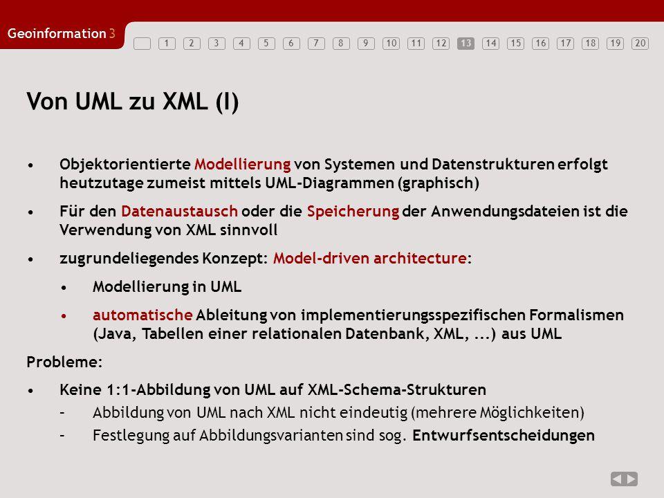 13 Von UML zu XML (I) Objektorientierte Modellierung von Systemen und Datenstrukturen erfolgt heutzutage zumeist mittels UML-Diagrammen (graphisch)