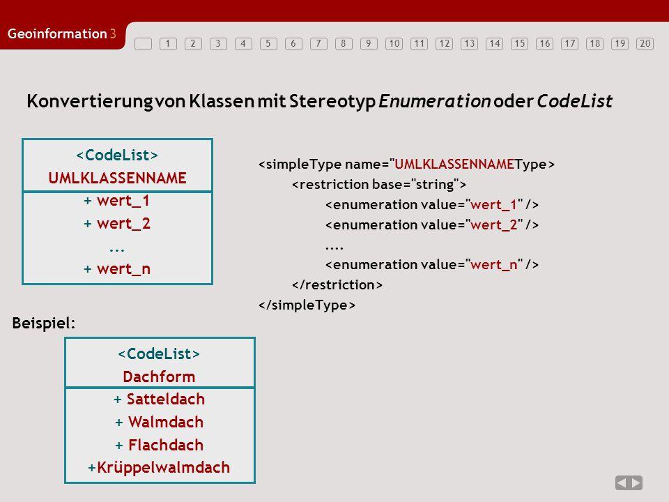 Konvertierung von Klassen mit Stereotyp Enumeration oder CodeList