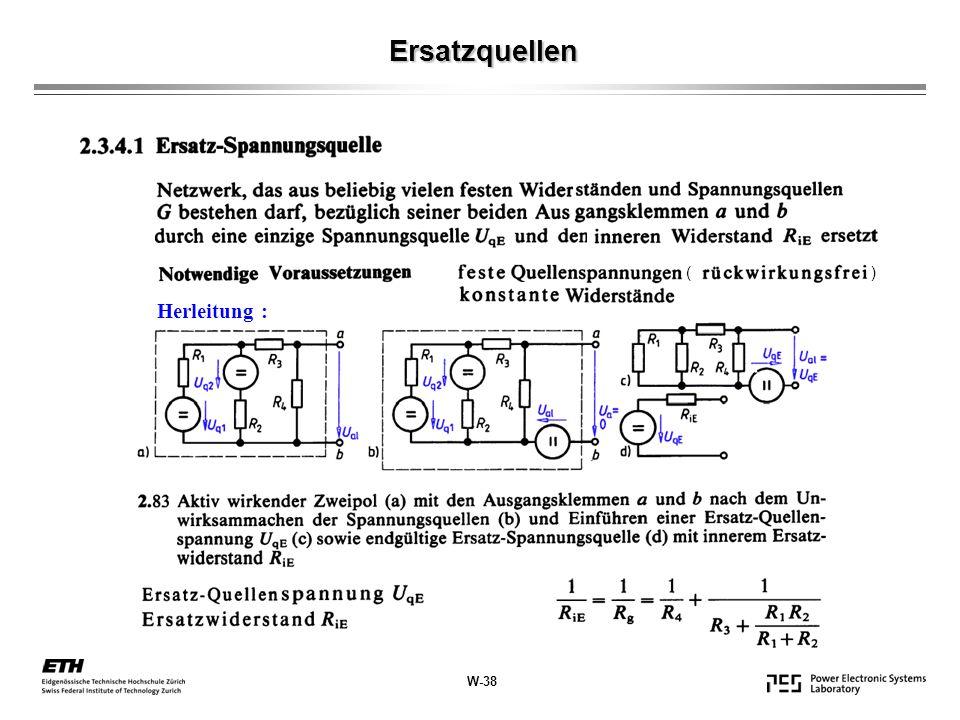 Ersatzquellen ( ) Herleitung : W-38