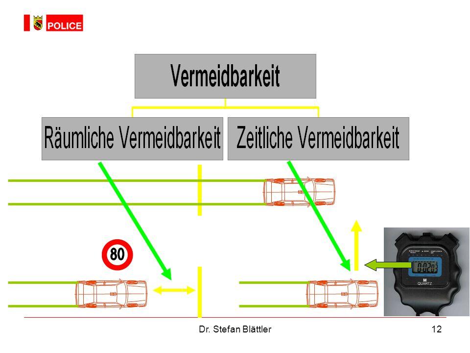 Räumliche Vermeidbarkeit heisst, dass der Fahrzeuglenker vor dem Hindernis (Kollisionspartner) anhalten kann - bei Einhaltung der vorgeschriebenen Geschwindigkeit.