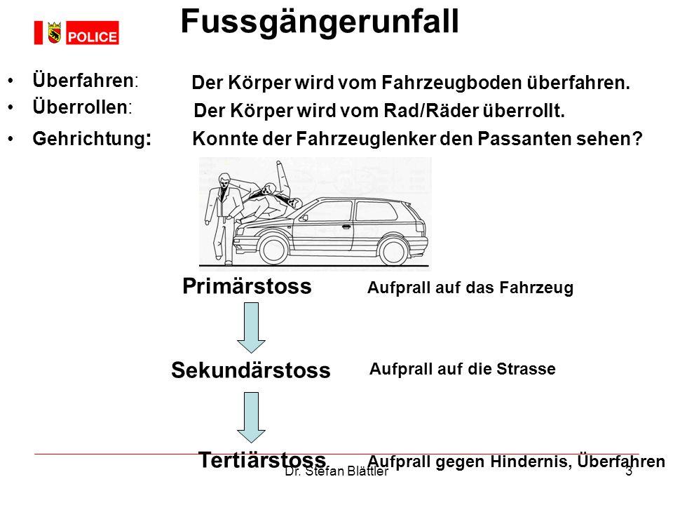 Fussgängerunfall Primärstoss Sekundärstoss Tertiärstoss Überfahren: