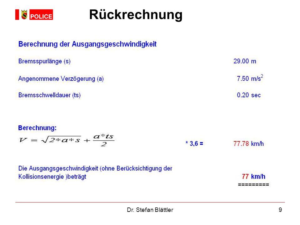 Rückrechnung Sog. Stillstandsormel Dr. Stefan Blättler