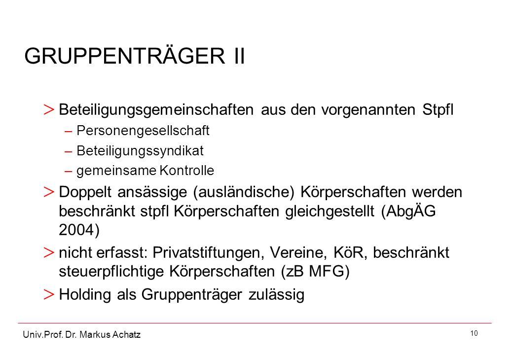 GRUPPENTRÄGER II Beteiligungsgemeinschaften aus den vorgenannten Stpfl