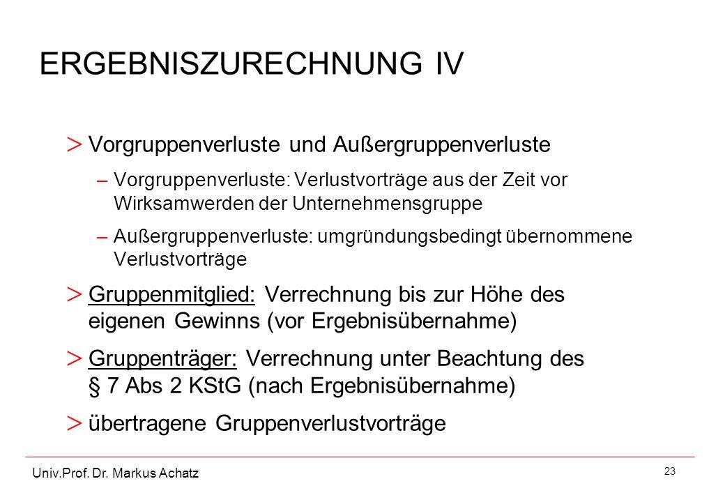 ERGEBNISZURECHNUNG IV