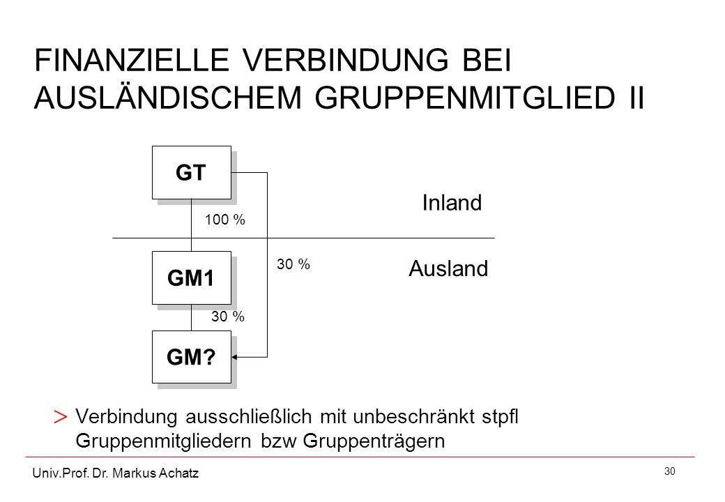 FINANZIELLE VERBINDUNG BEI AUSLÄNDISCHEM GRUPPENMITGLIED II