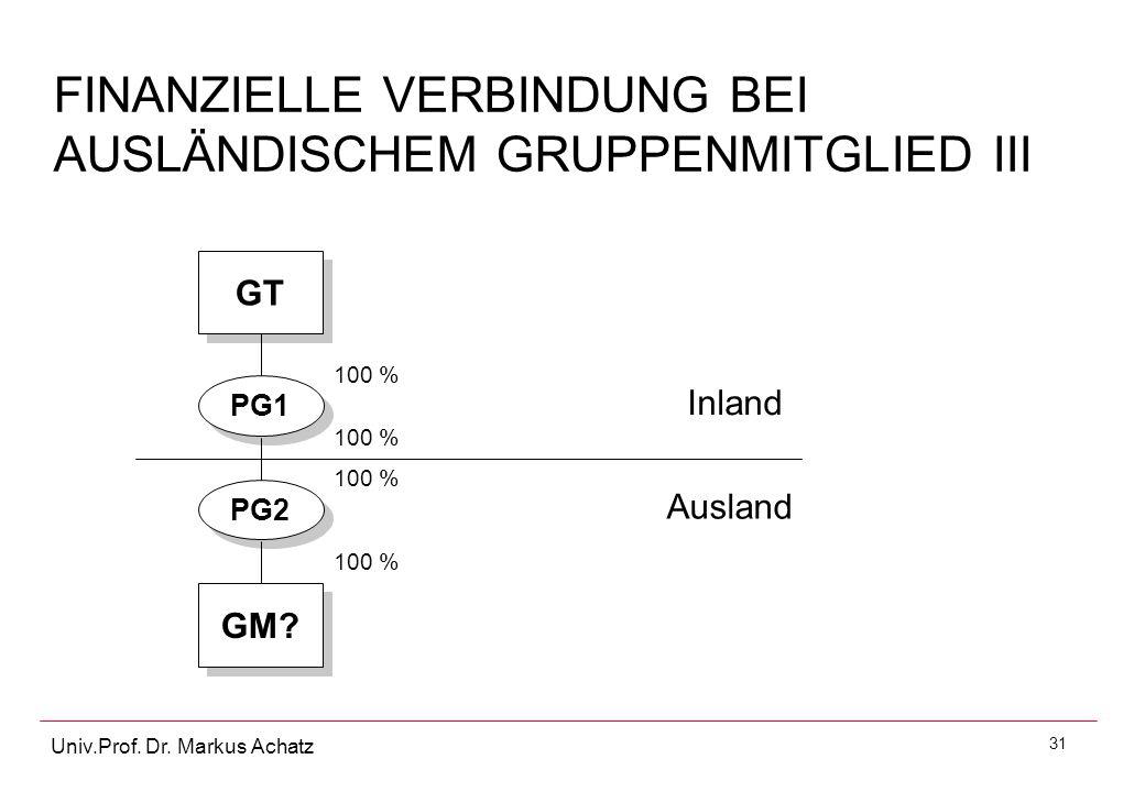 FINANZIELLE VERBINDUNG BEI AUSLÄNDISCHEM GRUPPENMITGLIED III