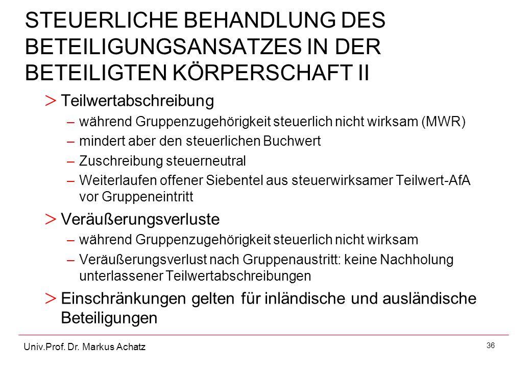 STEUERLICHE BEHANDLUNG DES BETEILIGUNGSANSATZES IN DER BETEILIGTEN KÖRPERSCHAFT II