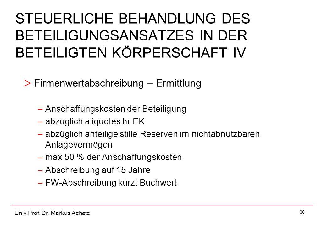 STEUERLICHE BEHANDLUNG DES BETEILIGUNGSANSATZES IN DER BETEILIGTEN KÖRPERSCHAFT IV