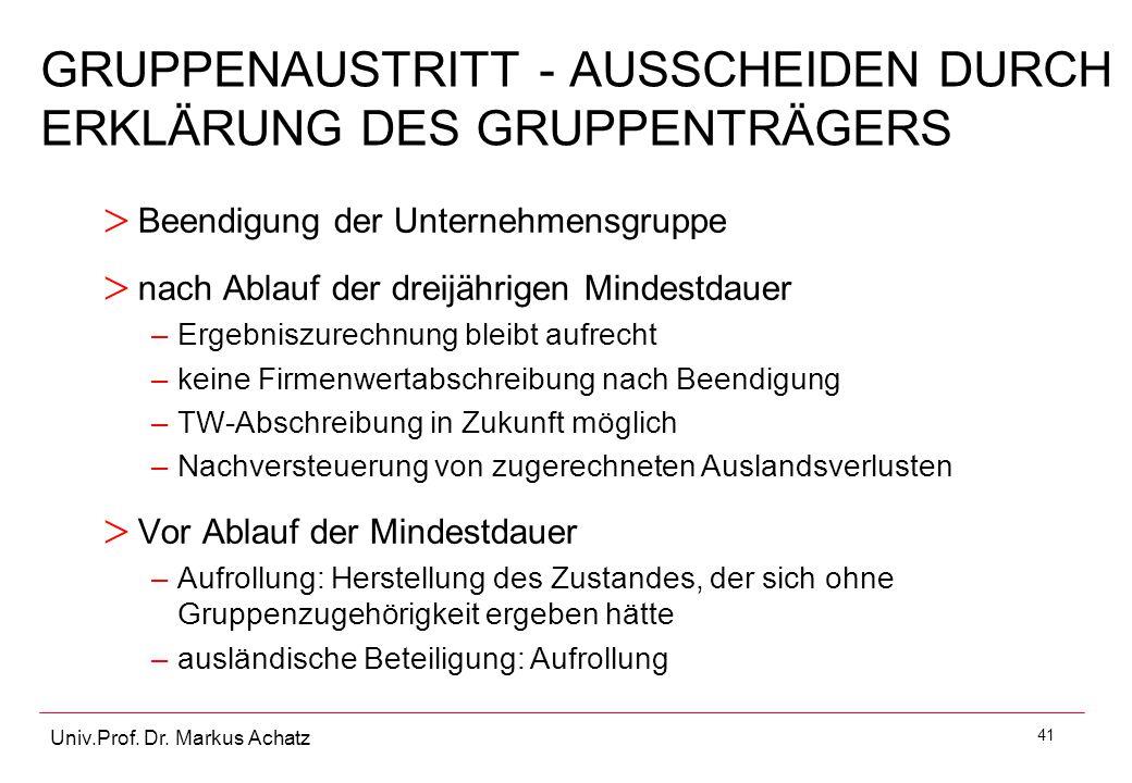 GRUPPENAUSTRITT - AUSSCHEIDEN DURCH ERKLÄRUNG DES GRUPPENTRÄGERS