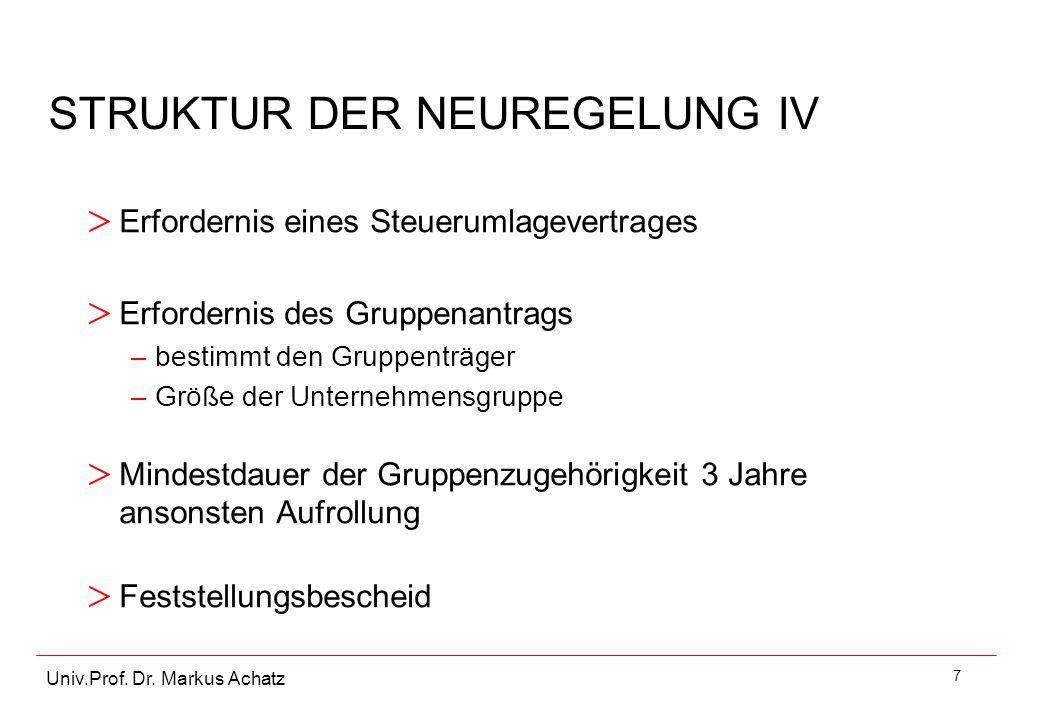 STRUKTUR DER NEUREGELUNG IV