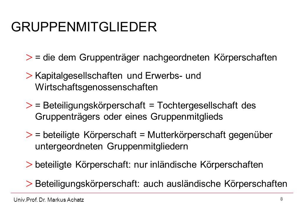 GRUPPENMITGLIEDER = die dem Gruppenträger nachgeordneten Körperschaften. Kapitalgesellschaften und Erwerbs- und Wirtschaftsgenossenschaften.
