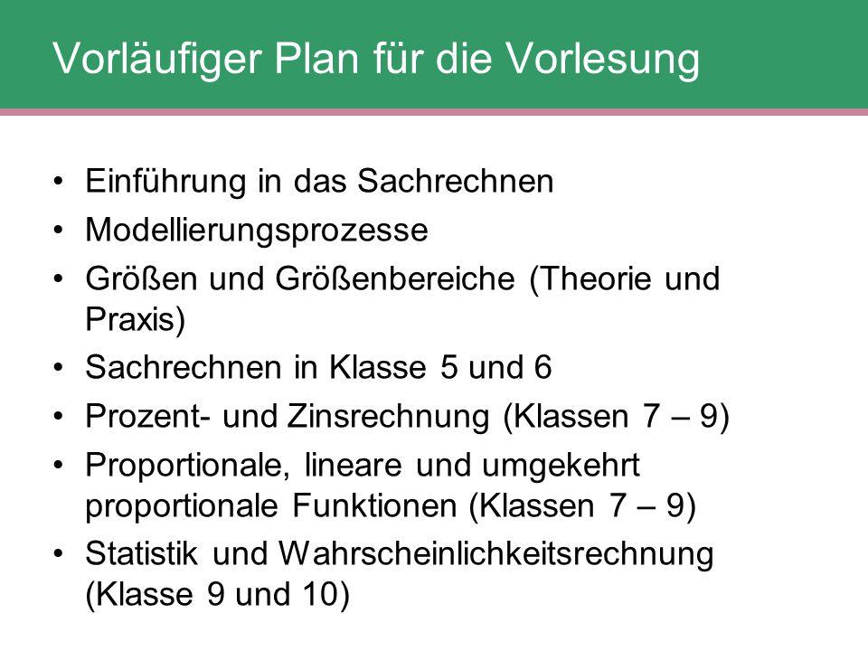 Vorläufiger Plan für die Vorlesung