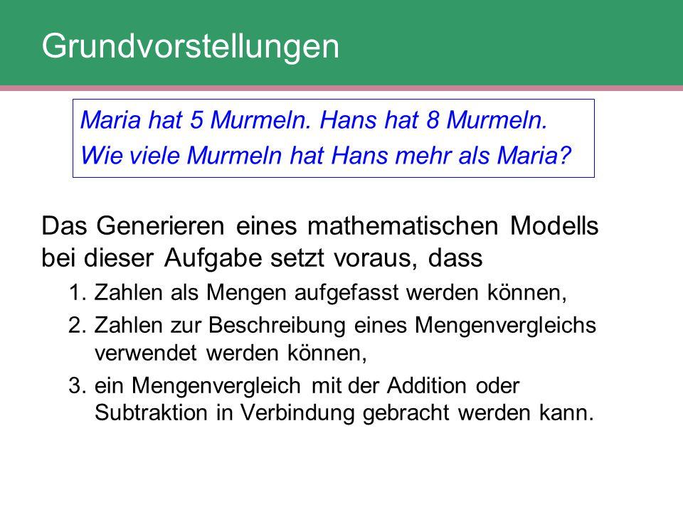 Grundvorstellungen Maria hat 5 Murmeln. Hans hat 8 Murmeln. Wie viele Murmeln hat Hans mehr als Maria