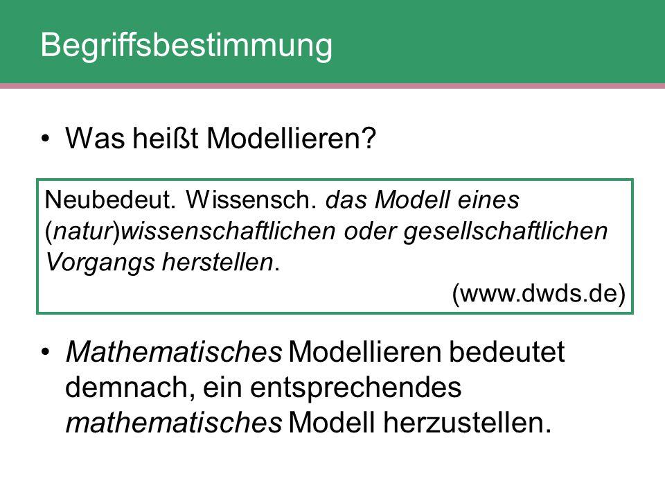 Begriffsbestimmung Was heißt Modellieren