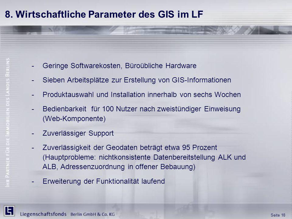 8. Wirtschaftliche Parameter des GIS im LF