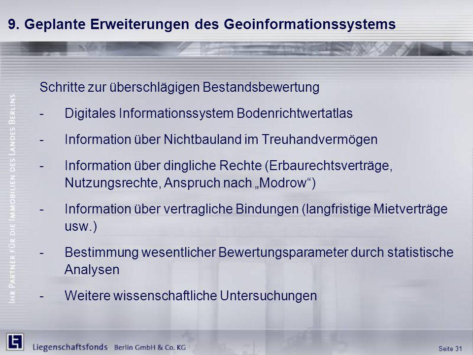 9. Geplante Erweiterungen des Geoinformationssystems