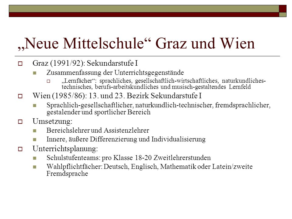 """""""Neue Mittelschule Graz und Wien"""