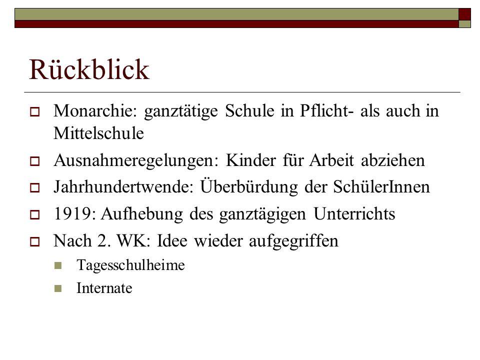 Rückblick Monarchie: ganztätige Schule in Pflicht- als auch in Mittelschule. Ausnahmeregelungen: Kinder für Arbeit abziehen.