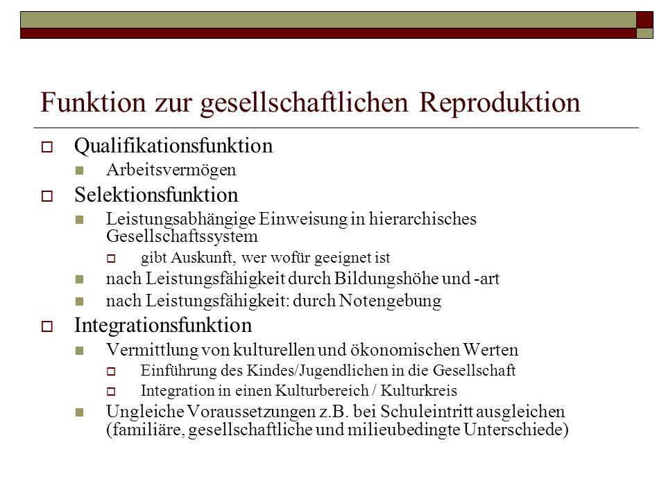 Funktion zur gesellschaftlichen Reproduktion