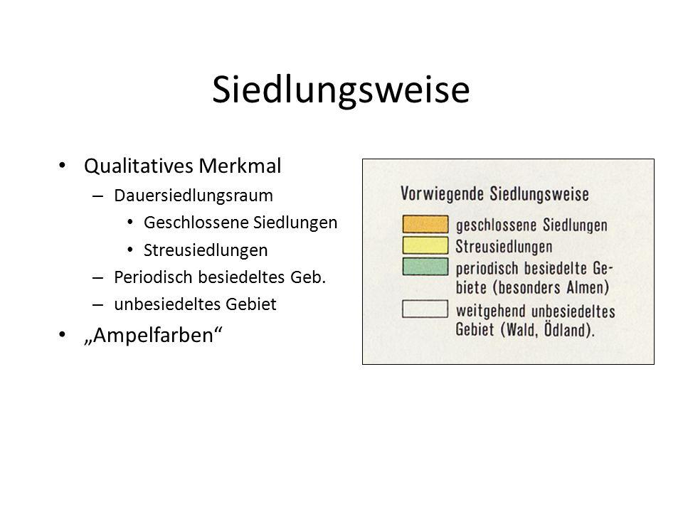"""Siedlungsweise Qualitatives Merkmal """"Ampelfarben Dauersiedlungsraum"""