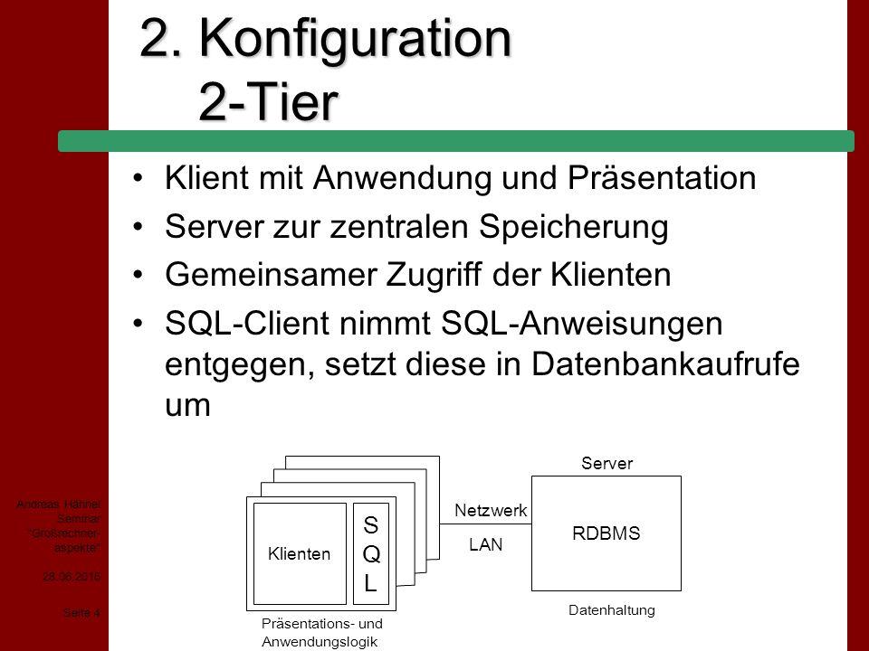 2. Konfiguration 2-Tier Klient mit Anwendung und Präsentation