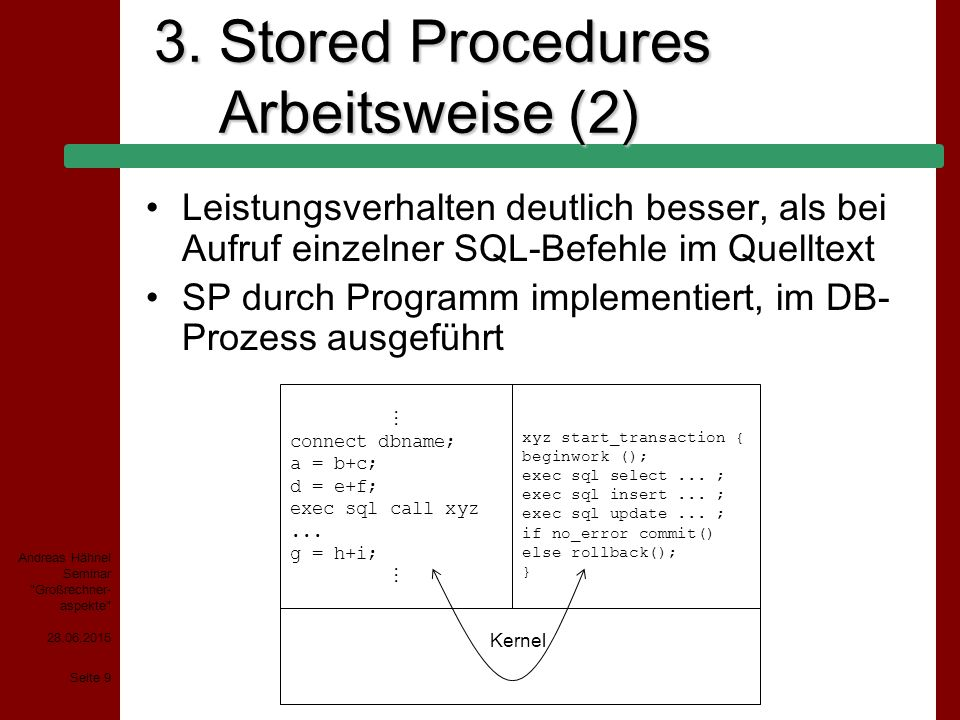 3. Stored Procedures Arbeitsweise (2)