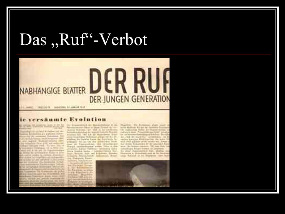 "Das ""Ruf -Verbot"