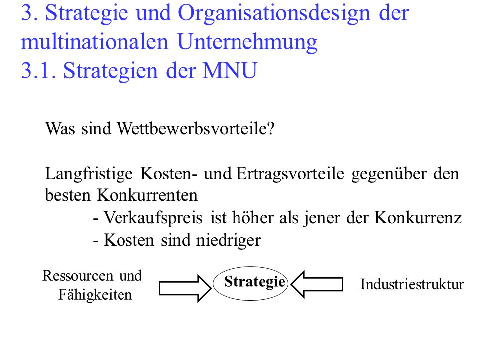 3. Strategie und Organisationsdesign der multinationalen Unternehmung 3.1. Strategien der MNU