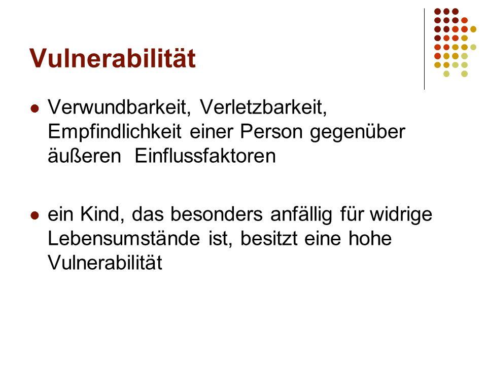 Vulnerabilität Verwundbarkeit, Verletzbarkeit, Empfindlichkeit einer Person gegenüber äußeren Einflussfaktoren.