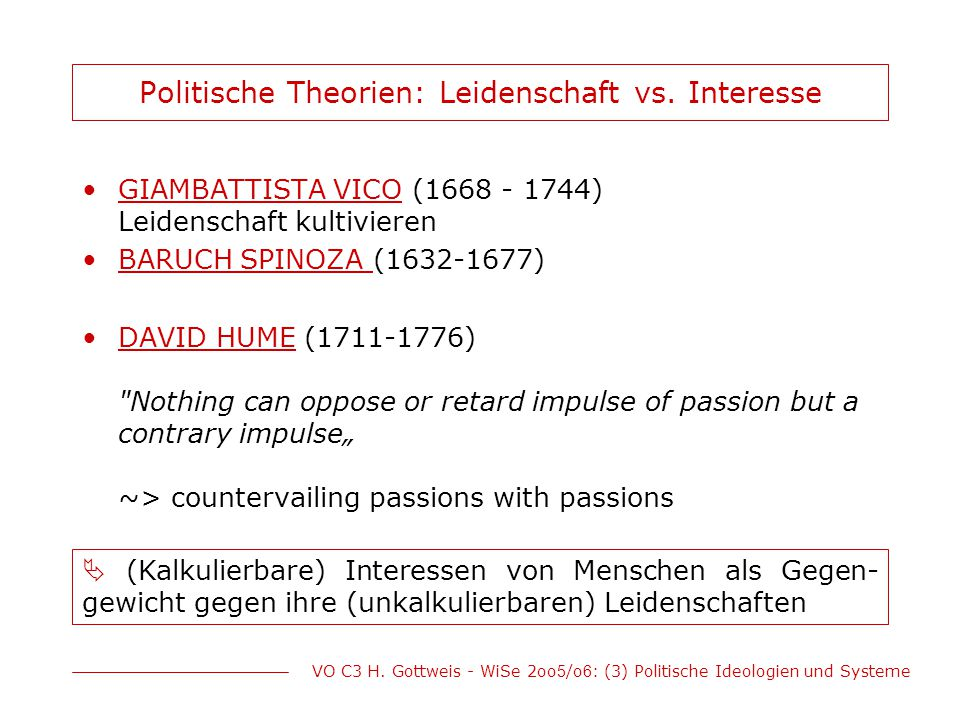 Politische Theorien: Leidenschaft vs. Interesse