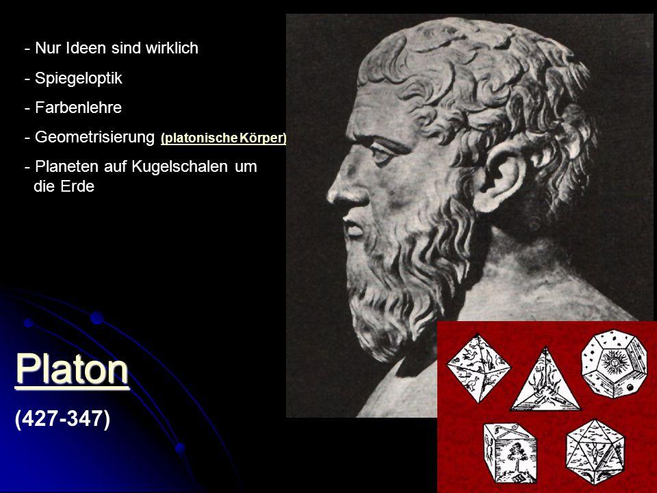Platon (427-347) Nur Ideen sind wirklich Spiegeloptik Farbenlehre