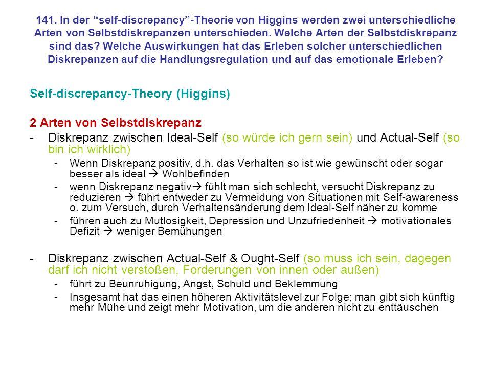 Self-discrepancy-Theory (Higgins) 2 Arten von Selbstdiskrepanz
