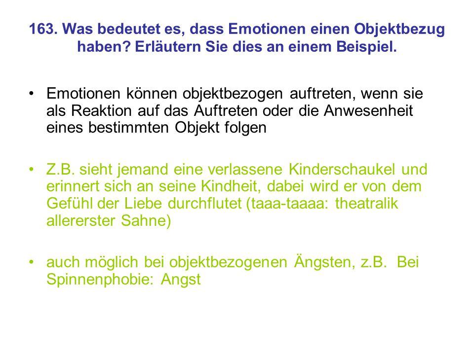 163. Was bedeutet es, dass Emotionen einen Objektbezug haben