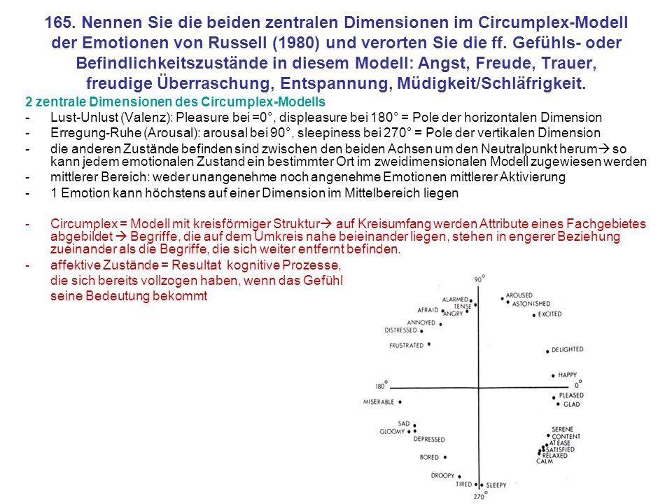 165. Nennen Sie die beiden zentralen Dimensionen im Circumplex-Modell der Emotionen von Russell (1980) und verorten Sie die ff. Gefühls- oder Befindlichkeitszustände in diesem Modell: Angst, Freude, Trauer, freudige Überraschung, Entspannung, Müdigkeit/Schläfrigkeit.