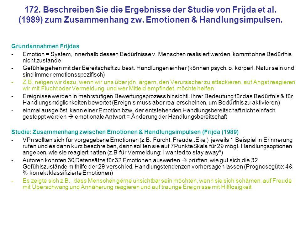 172. Beschreiben Sie die Ergebnisse der Studie von Frijda et al