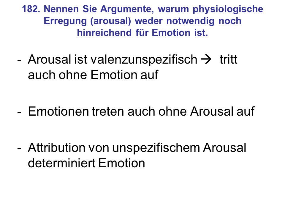 Arousal ist valenzunspezifisch  tritt auch ohne Emotion auf