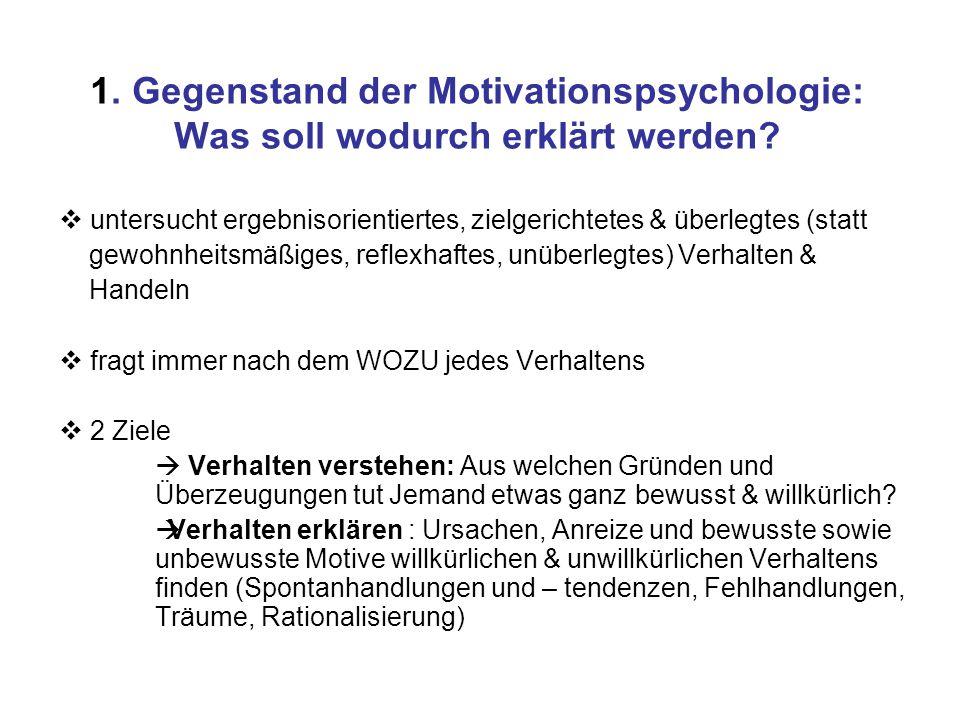 1. Gegenstand der Motivationspsychologie: Was soll wodurch erklärt werden