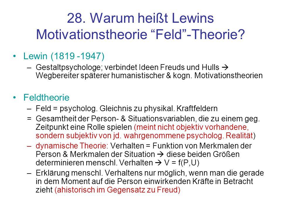 28. Warum heißt Lewins Motivationstheorie Feld -Theorie