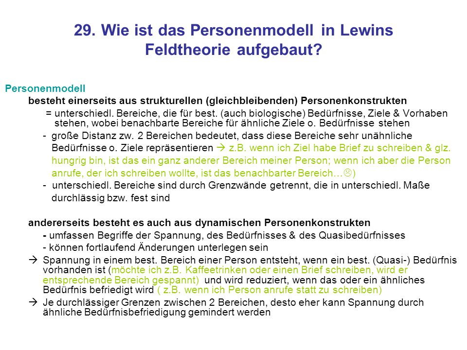 29. Wie ist das Personenmodell in Lewins Feldtheorie aufgebaut