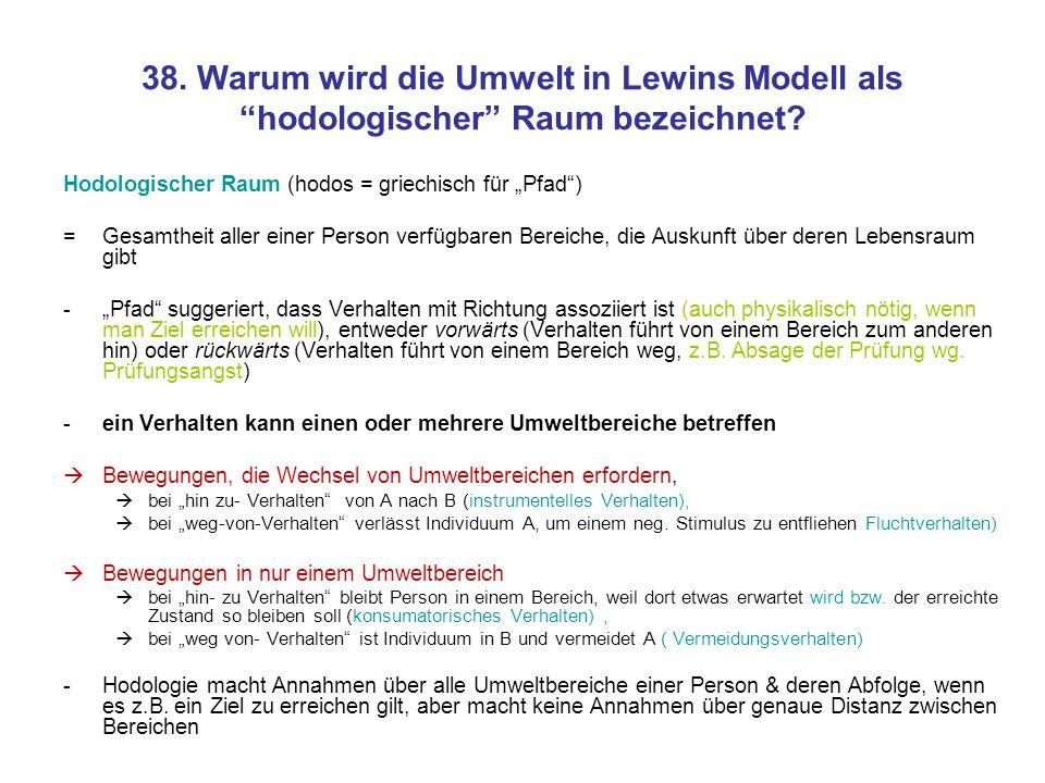 38. Warum wird die Umwelt in Lewins Modell als hodologischer Raum bezeichnet