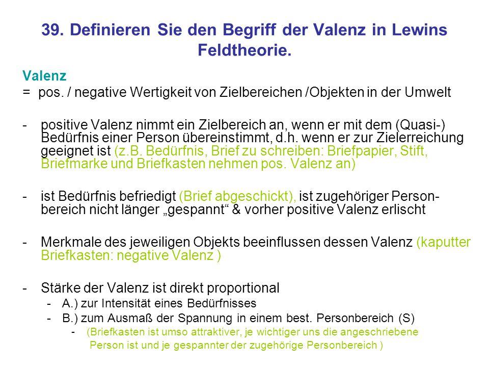 39. Definieren Sie den Begriff der Valenz in Lewins Feldtheorie.