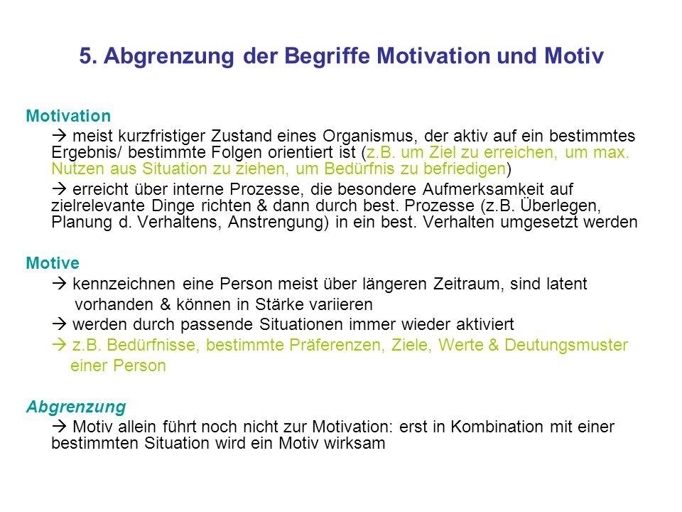 5. Abgrenzung der Begriffe Motivation und Motiv