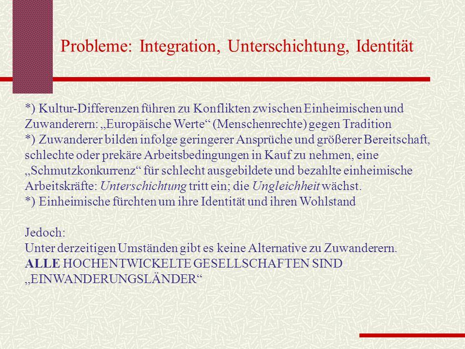 Probleme: Integration, Unterschichtung, Identität
