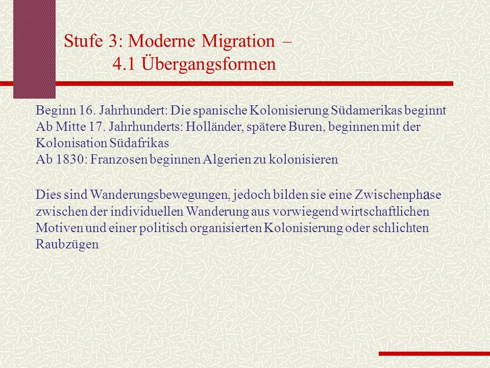 Stufe 3: Moderne Migration – 4.1 Übergangsformen