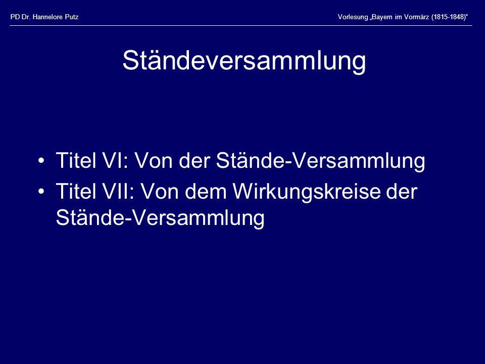 Ständeversammlung Titel VI: Von der Stände-Versammlung