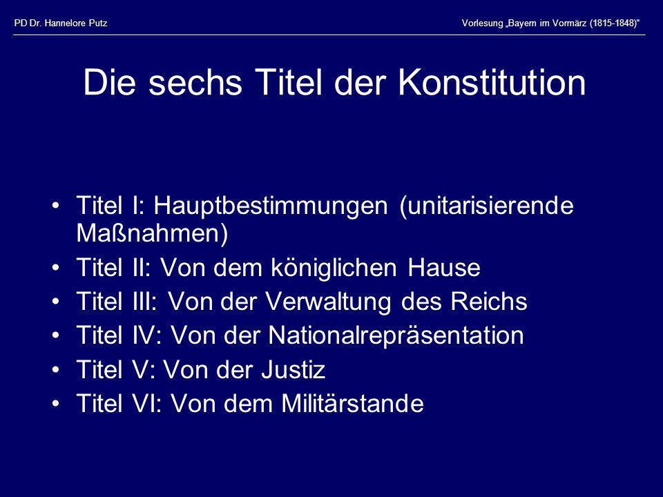 Die sechs Titel der Konstitution
