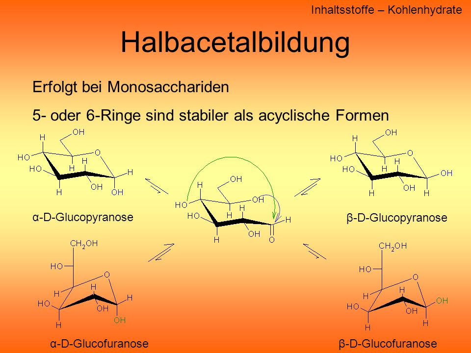 Halbacetalbildung Erfolgt bei Monosacchariden